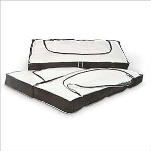 Relaxdays Housses de rangement dessous de lit boîtes de rangement partie supérieure transparente zippées 112 x 45 x 14 cm
