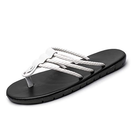 SHENNANJI Für Männer Slippers Thong Flip Flops Strandschuhe Slip On Multi Straps Einfarbig Leicht Erfahren Genäht Anti Slip Schnell trocknend (Color : Weiß, Größe : 44 EU) Weiß Multi Strap