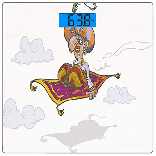 Präzisions-Digital-Körpergewichtswaage Arabian Ultra Slim Gehärtetes Glas Personenwaage Genaue Gewichtsmessungen, Cartoon Magier Fliegen auf Zauberteppich Himmel mit Wolken Oriental Persian Fairytale, -