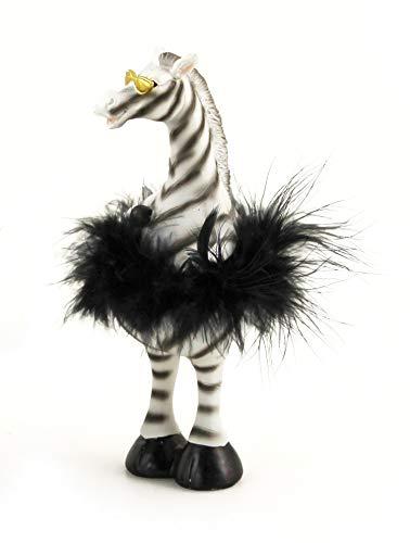 KLP Zebra mit Sonnenbrille Feder Boa Deko Tier Afrika Figur Skulptur Pferd Statue