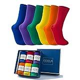 Vkele Socken für Damen und Herren aus feinster Baumwolle, einfarbig, Rot Orange Grün Lila, Crew Socken, 6 Paar, Gr. 39-42 39 40 41 42