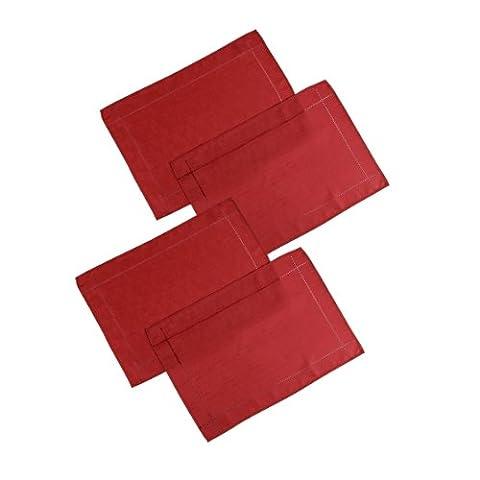 Signature Tischsets / Platzsets, Leinenoptik, 4 Stück 13in x 18in(33cm x 46cm) rot (Schwarz Premier Tischdecken)