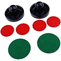 Gazechimp 2pcs Juegos de Air Hockey Pushers Embujadores +4pcs Pucks Discos de Hockey Sobre Hielo Fondo Forrado con Fieltro - Azul oscuro, L