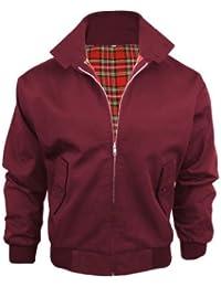 Mens Harrington Vintage Retro Mod Jacket - BURGUNDY - 2XL