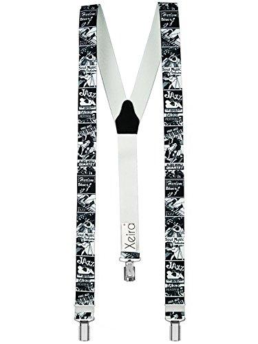Xeira  Hochwertige Hosenträger in Trendigen Motiven mit stabilen Clips und Echt Leder - Made in Germany (Noramle Größe, Jazz) Kind Jazz-pant