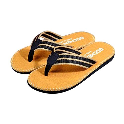 Fulltime®Hommes Chaussures à rayures d'été Sandales Pantoufle Flip-flop Kaki