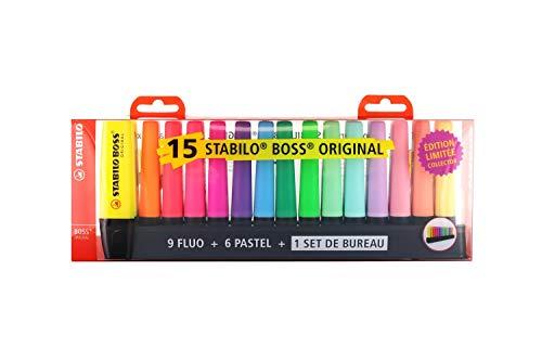 Stabilo - set da scrivania 15 evidenziatori boss, colori 9 fluo e 6 pastello