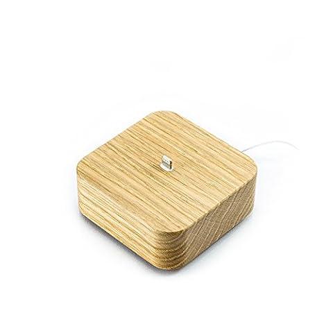FORMGUT // iPhone Dock Holz Dockingstation für i phone 7 6 6s Plus 5 5s se, Handy Ladestation mit Aufladekabel, apple charger tv, lightning adapter, Smartphone Halterung // neue verbesserte Version // Eiche Massiv