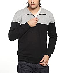 Gridstone Grey Melange/Black Zipper Sweatshirt-JKTGMBK60113-L