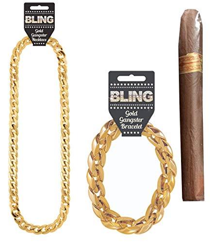 Gangster Zubehör Kostüm - Islander Fashions Kunststoff Goldkette Armband und gefälschte Zigarre Gangster Kostüm Zubehör