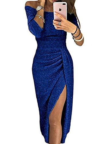 FIYOTE Damen Off Cocktailkleid Shoulder Kleider für Hochzeit Elegant Maxikleider Glänzend Hoch Geschnitten Abendkleider 5 Farbe S/M/L/XL, Blau, Medium (EU42-EU44)