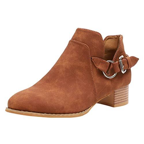 Stiefel Damenstiefel Stiefeletten Schuhe Einzelne Boots Einfarbigen Metallschnallen Cowboystiefel Spitzstiefel Metallband Freizeitschuhe Blockabsatz SchnüRung Plateau High Heels
