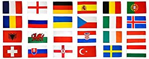 Flaggenfritze® Flaggen Set EM 2016 – 150 x 250 cm, alle 24 Nationen + gratis Sticker