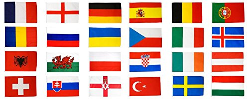 Flaggenfritze® Flaggen Set EM 2016 - 30 x 45 cm, alle 24 Nationen + gratis Sticker