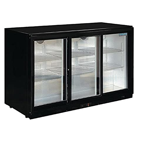 Polar Triple Sliding Door 330L Back Bar Cooler LED Black Commercial Fridge