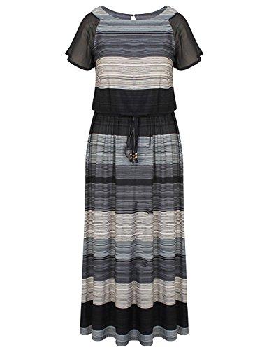 Chicwe Damen Große Größen Luxus Raglan Ärmel Maxi Kleid mit Gürtel 50, Multi Grau (Plus Kleider Größe Perlen)