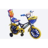"Rising India 14"" Kids Bicycle For 3-5 Years Single Seat Fan Wheel With Basket And Back Support-Blue (semi Assembled)"