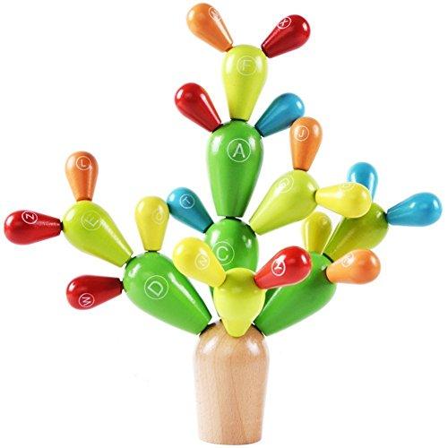 Lewo Cactus de Equilibrio de Madera Juguetes de Construcción Apilado Juegos de Bloques para Niños
