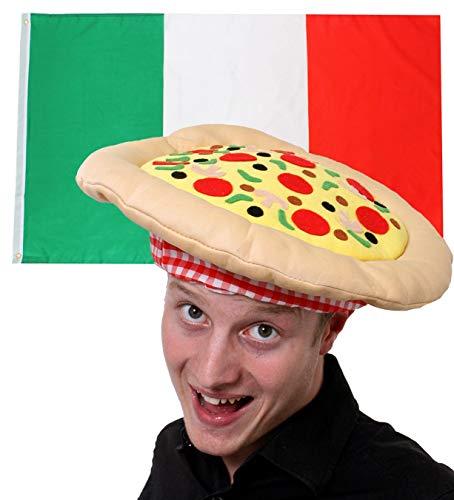ILOVEFANCYDRESS Italien Dekoration KOSTÜM VERKLEIDUNG =MIT+OHNE ZUBEHÖR=Fussball Sport LÄNDER ABMESSUNGEN VON 152cmX91cm=Flagge +Pizza - Nationalen Land Kostüm