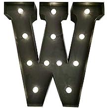 HLS LED - Letra W de Metal con luz LED - 33cm (13