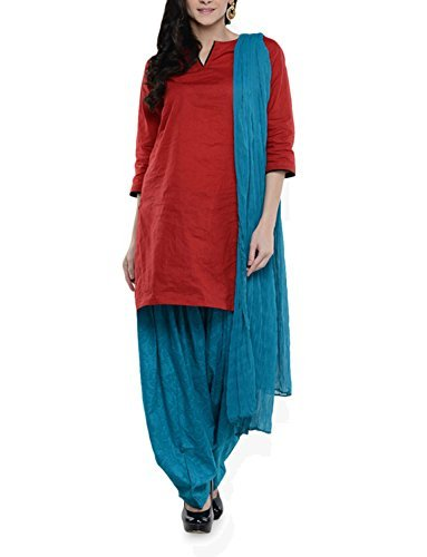 Womens Cottage Women's Sea Green Cotton Jacquard Semi Patiala Salwar & Chiffon Dupatta Stole Set with Lace
