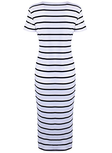 ACHICGIRL Women's Round Neck Striple Bodycon Dress White