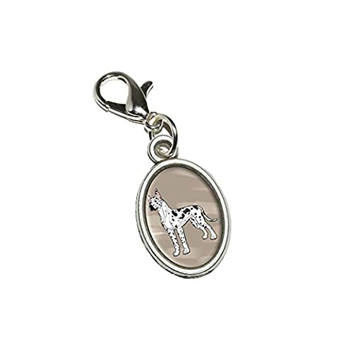 Graphics and More Great Dane - Pet Dog Antiqued Bracelet Pendant Zipper Pull Oval Charm with Lobster Clasp