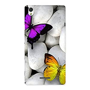 Impressive Butterflies white stones Back Case Cover for Sony Xperia T3
