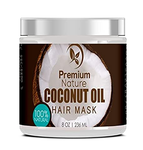 Coconut Oil Hair Mask Conditioner - 236 ml 100% Natural Deep Leave In Conditioner - Sulfate Free Damaged Hair Treatment - Moisturizing Intensive Repair Restores Shine & Nourishes Scalp Premium Nature