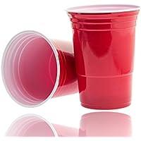 50x Vasos Rojo vasos desechables, desechables vasos (plástico, 450ml, muy estable