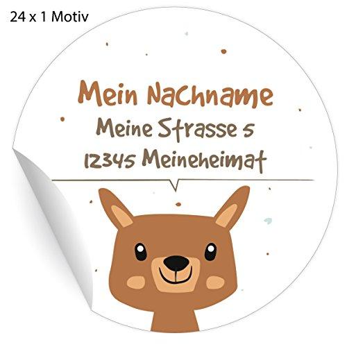 24 Custom Kinder Adress-Aufkleber mit Fuchs, MATTE Papier Sticker mit ihrem Text nach Wunsch universal Etiketten, Namensschilder für Tischdeko, Schule, Pakete (4,5cm)