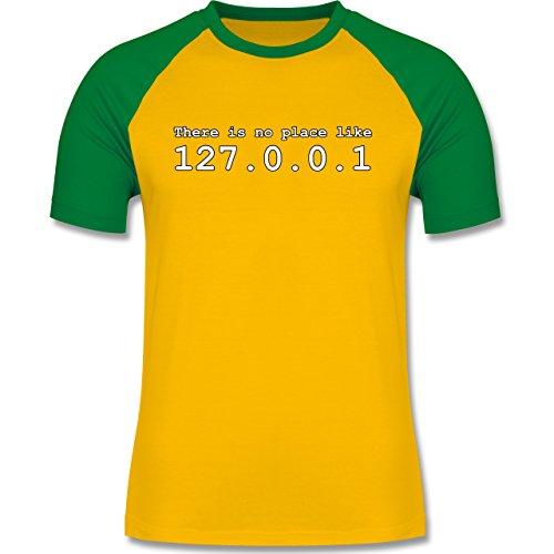 Programmierer - There is no place like 127.0.0.1 - zweifarbiges Baseballshirt für Männer Gelb/Grün