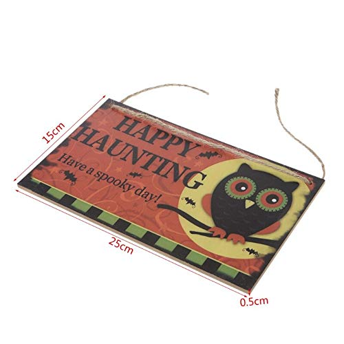 Plaques Signs - Happy Halloween Owl Wooden Hanging Plaque Board Wall Sign Door Home Decoration - Plaque Sign Wall Wood Sign House Wood Hippy Coffee Decor Sign Sequin Mirror Flower Letter