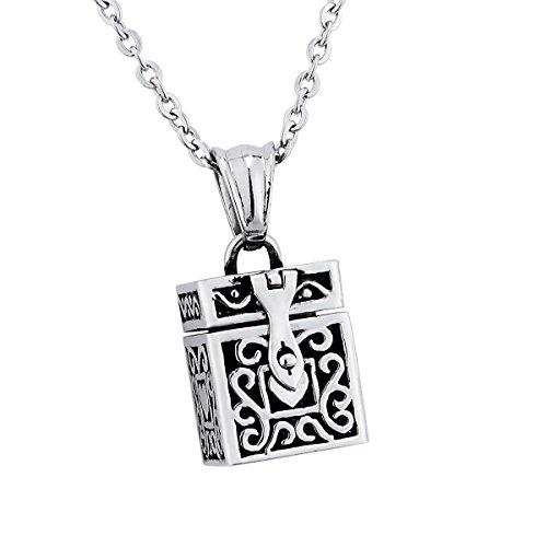 bet Box Anhänger Memorial Andenken Edelstahl Halskette Medaillon Anhänger Halskette Memorial Jewelry ()