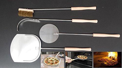 Pizzaset Flammkuchenset Brotbackset Holzbackofenset 4 Teile Edelstahl - Holz
