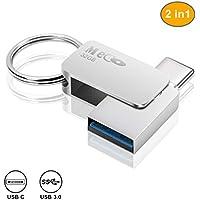 USB Stick 32GB, MECO OTG Speicherstick 32GB 2-in-1 Flash Drive USB 3.0 Memory Stick 32 GB USB Typ C Stick USB Pen drive  USB Flash Laufwerk mit Schlüsselanhänger für PC/Laptop/Notebook, und andere USB-Geräte