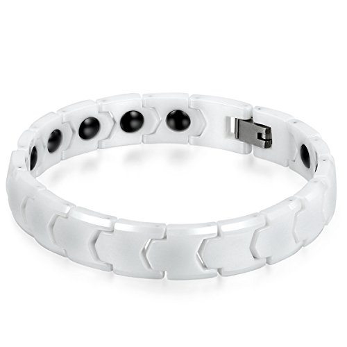 JewelryWe Schmuck Herren Armband, Keramik Porzellan, 11mm Breit Klassiker Poliert Link Magnetarmband Armkette, Weiss -