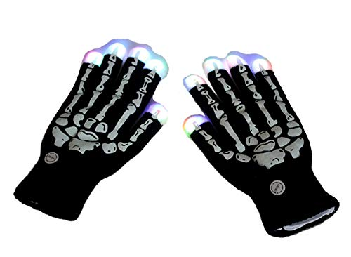 Skeleton Hand Gloves LED Gloves Flashing Finger Light Gloves Colorful Rave Gloves For Halloween Christmas Party Cycling Dance 7Mode Colorful Finger Lighting Flashing Gloves,Black ()