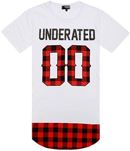 pizoff-unisex-rojo-escocia-grid-print-extended-negro-blanco-side-zip-t-camisas-blanco-y0645-w-large