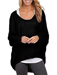 5f5a9fd710 Mujeres Camiseta con Mangas Largas de Murciélago Cuello Redondo Camisa  Blusa Suelto Jumper Pullover Sudadera Sweater