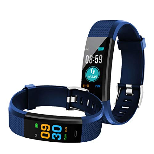 Bingo iP67 Activity Tracker with Heart Rate Waterproof Fitness Band Smartwatch Bracelet with Screen Sleep Monitor for Android or iOS Smartphones (Navy Blue)