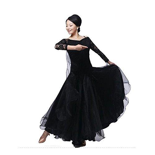 (BellyQueen, Kleid für Modern Dance / Walzer / Tango, schwarz, xxl)