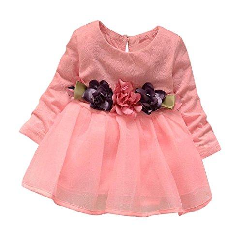 Longra Baby Kinder Mädchen Langarm Prinzessin Blumen Kleid Kostüm Tutu Kleid Karneval Party Kleid Baby Outfits Kleidung(0-3Jahre) (90CM 18Monate, (Prinzessinnen Outfits)