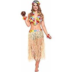 JZK 5 in 1 Traje fiesta hawaiana disfraces falda hula diadema de flores pulsera lei guirnalda collar para niñas mujer Fiesta hawaiana Luau accesorio fiesta Hawaii