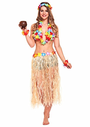 Rock Kostüm Set - JZK 5X Hawaii Party Kostüm Set, Hula Rock + Blume Stirnband + 2 Blumen Armband + Halskette Girlande, Mädchen Frauen Zubehör für Hula Luau Party, Einheitsgröße