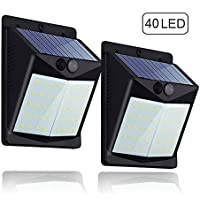 Luz Solar con Sensor de Movimiento,Súper Brillante Hovast [2 Paquetes] 40 LED Foco Solar Exterior Impermeable Lámparas Solares de Pared 1500mAh Luces de Exterior para Jardín, Calzada, Cercado, Garaje