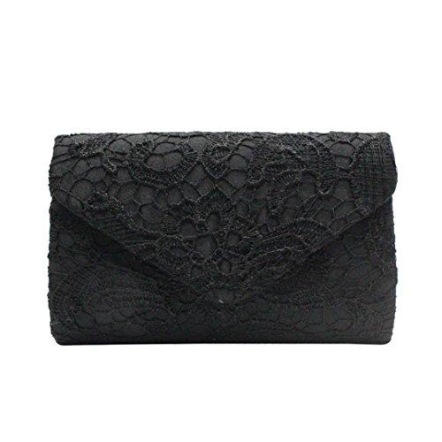 Huhu833 Damen Handtaschen, Damen Elegante Blumenspitze Envelope Clutch Abend Prom Handtasche (Schwarz) -