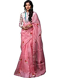 Bollyclues Women's Embroidered Work Cotton Silk Designer Saree With Embroidered Work Unstiched Blouse Piece (Pink)