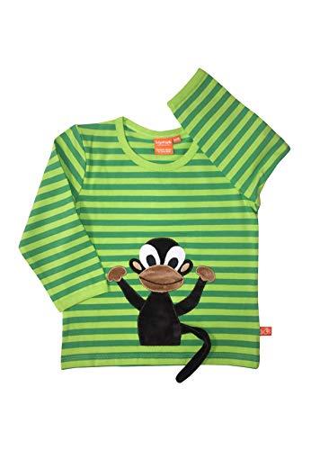 LIPFISH Jungen T-Shirt Langarm Grün Gestreift Affe 3-D BioBaumwolle - Größe: 74/80