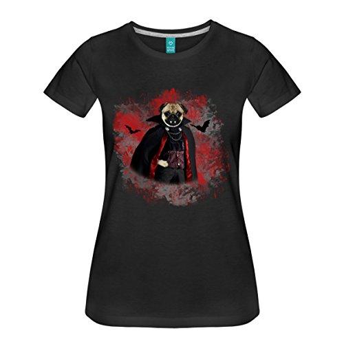 Halloween Mops Als Vampir Mit Umhang Frauen Premium T-Shirt von Spreadshirt®, L, (Zum Mops Halloween Kostüme)